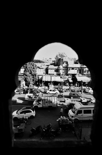 Looking To The Other Side Hawa Mahal Jaipur India Historic Hustlebustle Peoplerushing Cars Noisy Black And White Monochrome