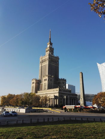 Warsaw City Tower Architecture Clear Sky Sky Cityscape Outdoors Skyscraper Warszawa  Pkin Palace Of Culture And Science In Warsaw Pałac Kultury I Nauki Day Travel Destinations Poland Building Exterior Architecture Russian Architecture