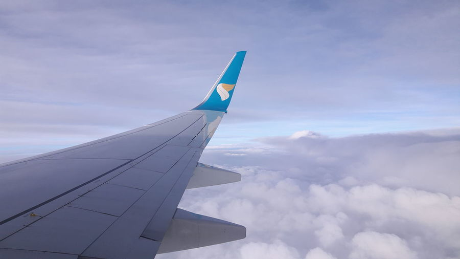 Travelling is the best way to discover ourselves. Oman Air Airplane Airplane Wing Boeing 737 Cloud - Sky Sky Sky Though Plane First Eyeem Photo