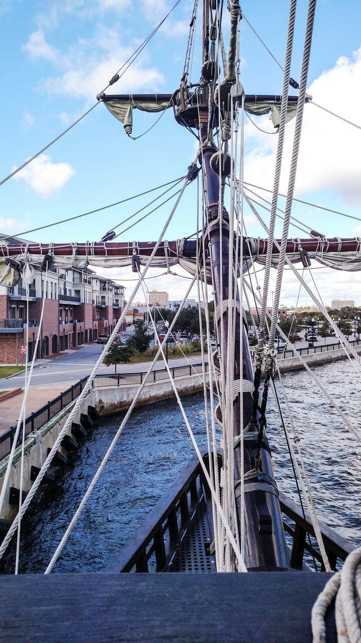 Close Up Of Ship's Mast Against Sky