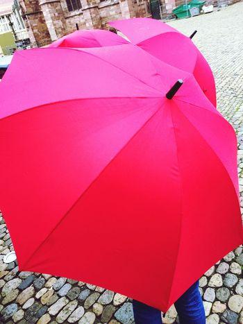 Rote Regenschirme in Freiburg Umbrellas