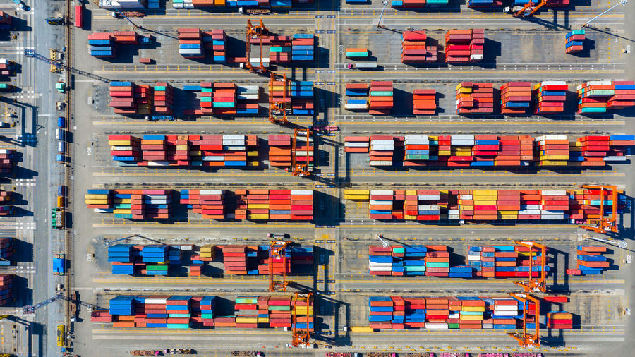 Aerial view of multi colored cargo container on land