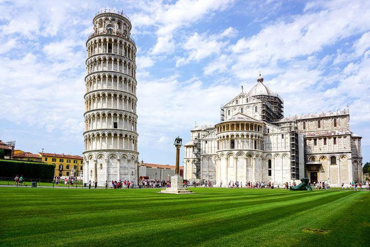 Leaning Tower Of Pisa And Cathedral Against Sky