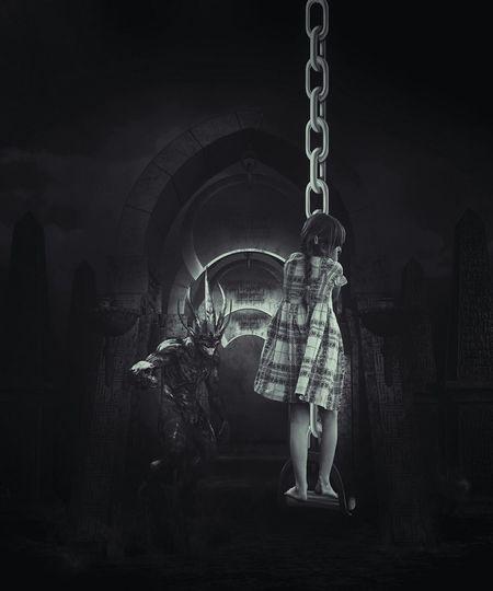 back in hell Girl Chains Nightmare Hell Monster Black And White Black & White Monochrome Monochromatic Notes From The Underground Surrealism Fear NEM Silence NEM Memories NEM Black&white EyeEm Gallery EyeEmBestPics EyeEm Best Edits Darkness And Light Sadness Photo Manipulation ArtWork Light And Shadow Shootermag Lucky's Monochrome