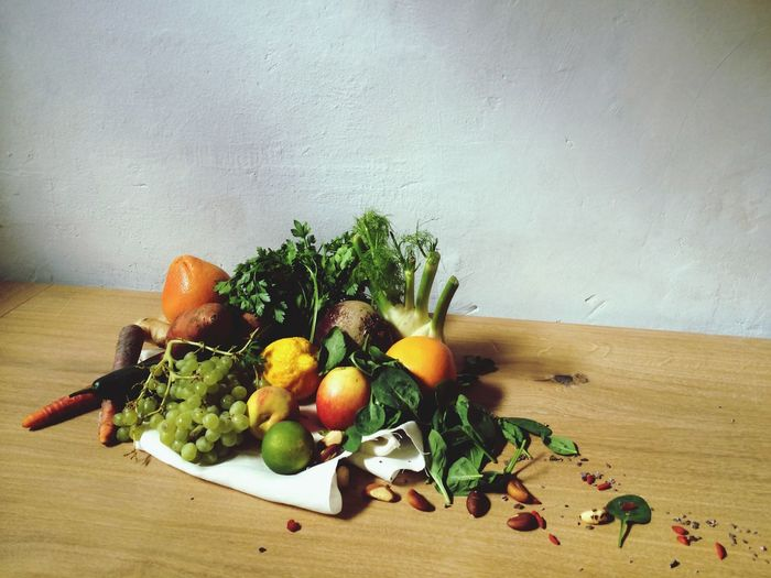 Fruits And Vegetable On Table At Home