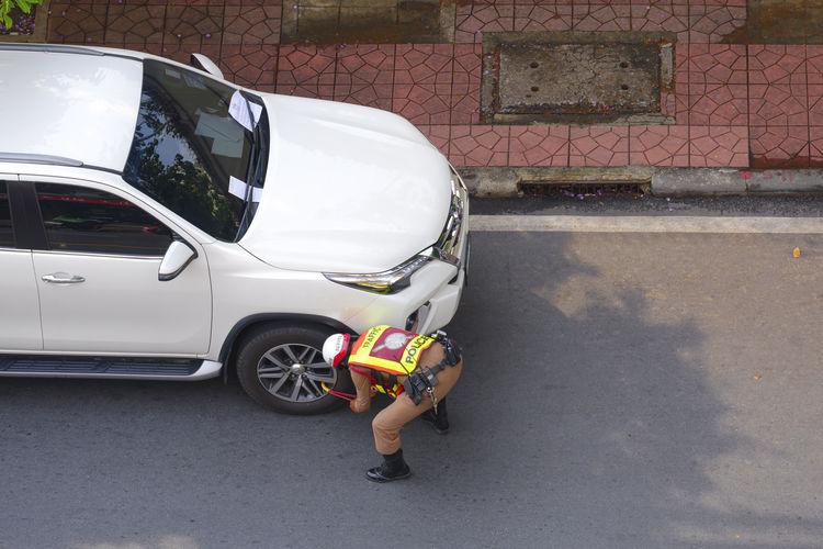 High angle view of man on street