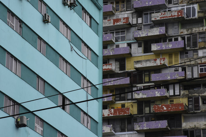 Architecture Architecture Balcony Building Building Exterior Building Story Built Structure City Colors Colour Contrast Cuba Cyan Development Havana Havana Libre Low Angle View Modern Multi Storey No People Outdoors Photography Purple Tall - High Travel