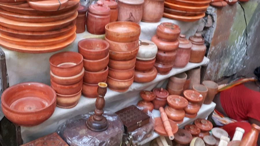 High angle view of objects for sale in market