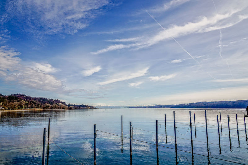 Frühling Harbour Sipplingen Am Bodensee Beauty In Nature Bodensee Outdoors Scenics - Nature Sky Spring Water Wooden Post