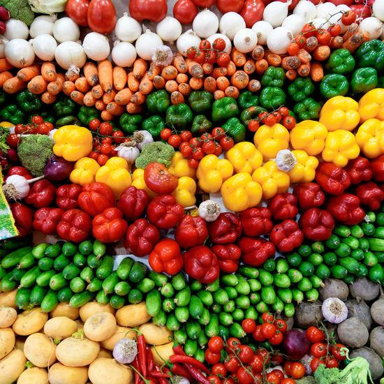 Full frame shot of multi colored vegetables for sale in market