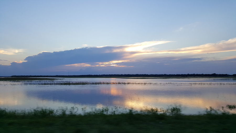 Floodwaters Texas Sunset PastureLand Brazoria County Texas Skies