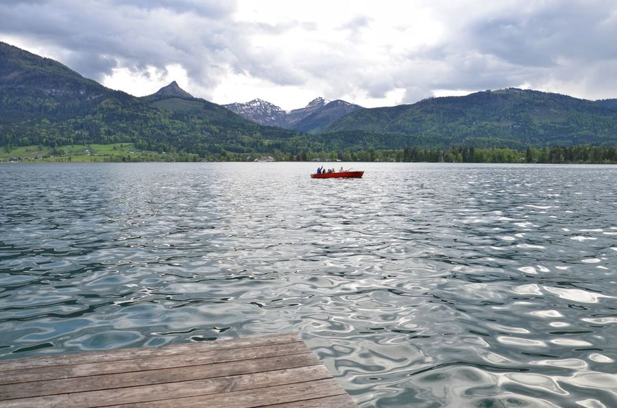Lake Water Mountain Outdoors Landscape Cloud - Sky Nature Day Transportation Blue Water Blue Sky Austria Red Boat Beauty In Nature Wood Web Boardwalk
