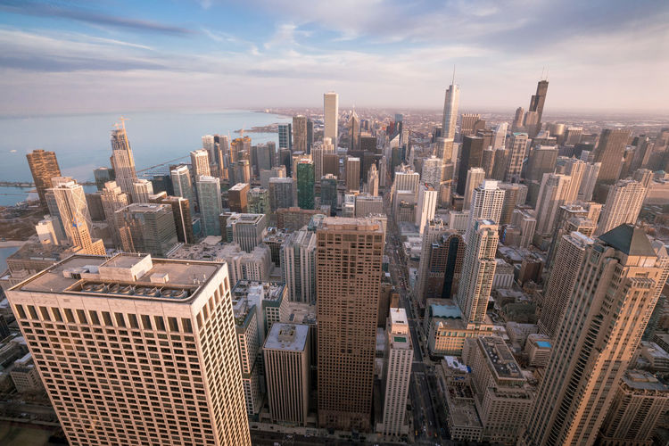 This picture of downtown Chicago was taken from 360° Skydeck in Hankok Tower Aerial View Architecture Building Building Exterior Built Structure City Cityscape Cloud - Sky Crowd Financial District  High Angle View Landscape Modern Office Building Exterior Sky Skyscraper Tall - High Tower Travel Destinations Urban Skyline