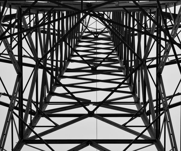 Girder Electricity Pylon Steel Cable Full Frame Pattern Silhouette Sky Architecture Built Structure Underneath Visual Creativity