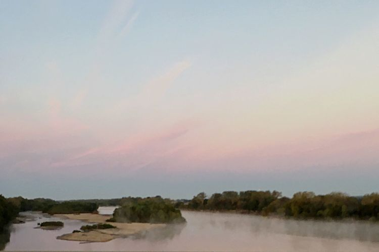 Morning fog on the Kansas River. Water Sky Nature Tranquility Tree Beauty In Nature Outdoors Tranquil Scene No People Scenics Landscape Day Sunrise And Clouds Beauty In Nature Sunrise Over Water Morning Glow