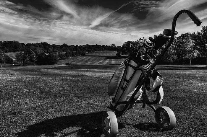 Golfing. Blackandwhite Cloud Cloud - Sky Day Fairway Field Golf Golfbag Grass Grassy Growth Landscape Lawn Leisure Activity Lifestyles Nature Niklasskur Outdoors Part Of Popular Photos Rural Scene Sky The Great Outdoors With Adobe Tranquil Scene Tree