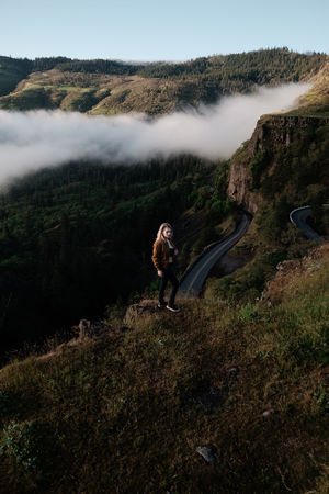 Crest IG @noeldxng Be. Ready. Perspectives On Nature Adventure Beauty In Nature Day Full Length Grass Landscape Leisure Activity Lifestyles Mountain Nature One Person Outdoors People Real People Scenics Sky Tranquility Tree Vacations Water Women Young Adult Young Women