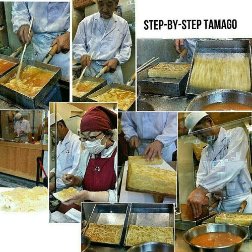 The making of tamagoyaki (literally, grilled egg) Japanese Omelette Food Rectangular Omelette Pan Makiyakinabe Snack 100¥ Tsukiji Tokyo Japan Travel Photography
