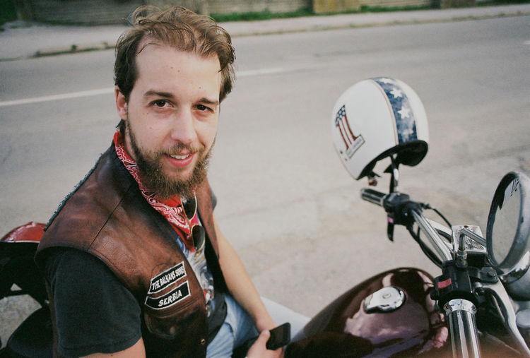 Analogue Photography Beard Bicycle Biker Casual Clothing Facial Hair Film Photography Front View Happiness Leisure Activity Lifestyles Looking At Camera Mode Of Transportation One Person Portrait Real People Smiling Sport Superia100 Transportation Young Adult Young Men