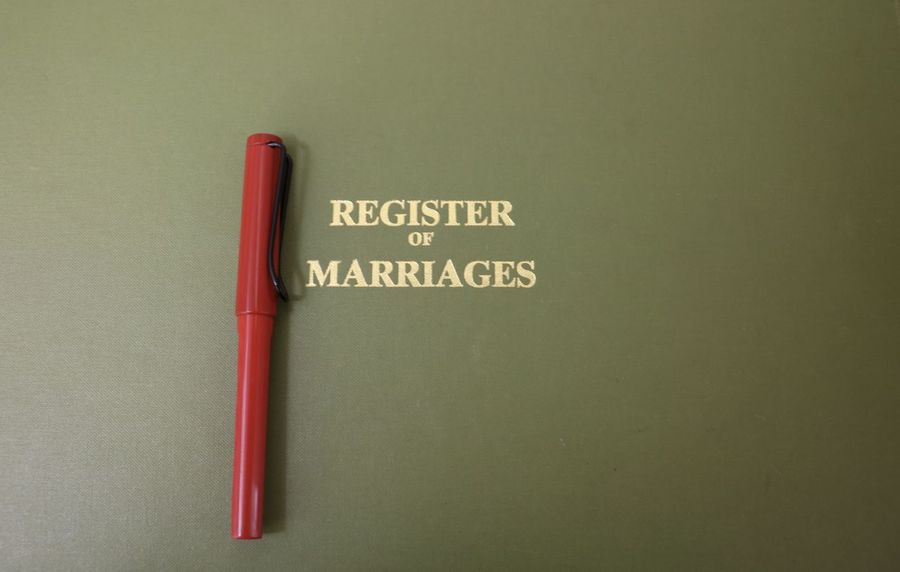 Gold Lettering Green Historic Records Lettering Marriage  People Red Register