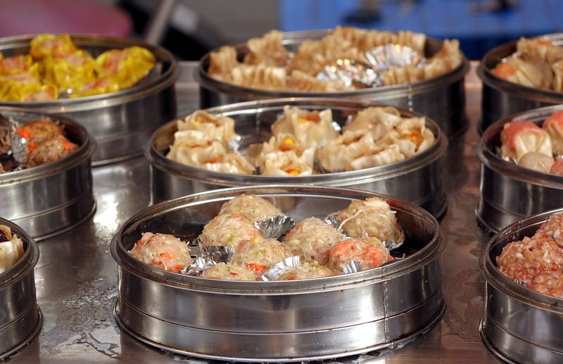 Close-up of dim sum for sale
