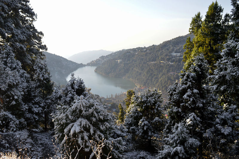 Snow Covered town and trees... Flowing Water Outdoors Growth Non-urban Scene No People Tranquil Scene Water Nature Sky Scenics - Nature Tranquility Beauty In Nature Mountain Tree Plant Day Mountain Range Forest Environment Idyllic