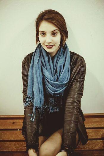 Girl Purple Lipstick Blue