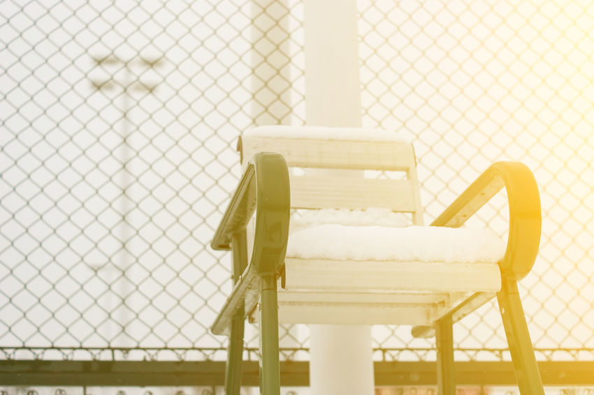 Winter Mood Winter Vacation WinterLife No People Snow Day Snow On Tennis Umpire Chair Umpire Chair Winter Morning