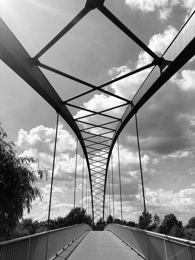 Bridge symmetry Cloud - Sky Sky Architecture Nature Built Structure Metal No People The Way Forward Bridge Bridge - Man Made Structure
