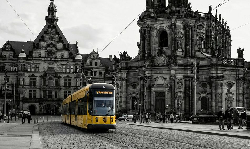 Building Exterior Transportation Architecture City Public Transportation Built Structure Mode Of Transport Sky Cable Car Outdoors Tram No People Day City Gate Straßenbahn Straßenfotografie Dresden Hofkirche Dresden Albertbridge Altstadt Colorsplash Black And White Schwarz & Weiß