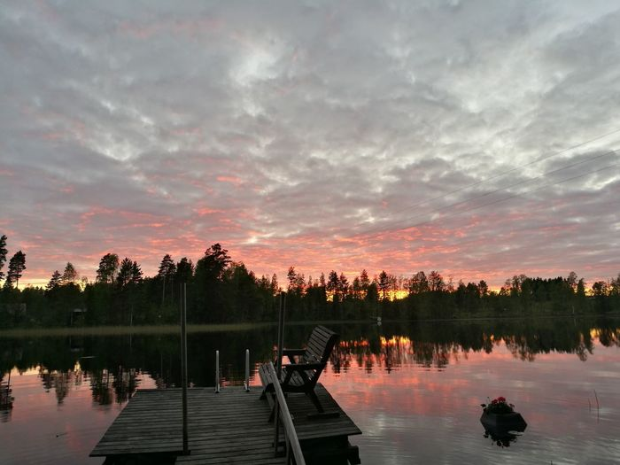 Juhannus night in Finland 👌 Reflection Tree Water Lake Autumn Cloud - Sky Sunset Dawn Outdoors No People Reflecting Pool Leaf Sky Multi Colored Nature Day Summernight Summer Juhannus Finnish  Photographer Finnishboy Finland Summertime Summer Finland