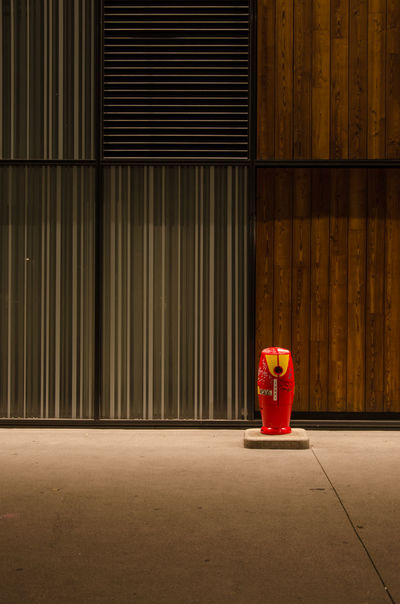 Red Curtain Indoors  No People Day City Town Hydrant Fireplug Fire Hydrant Minimalism Minimal