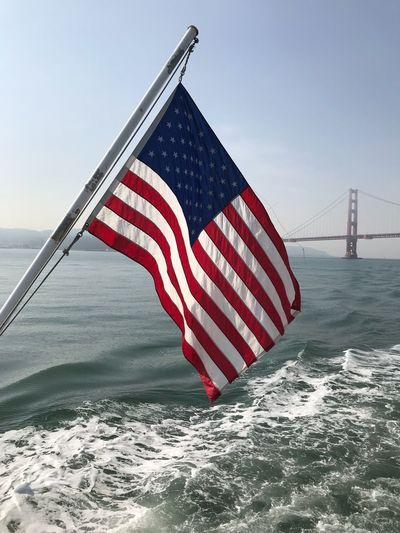 #americanflag #california #SanFrancisco #goldengatebridgerecreation2017 #goldengate Patriotism Flag No People Stars And Stripes Transportation Red Outdoors