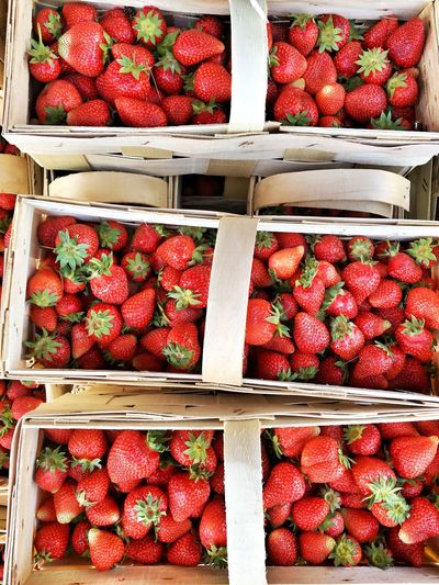 Full frame shot of strawberries in boxes for sale at market