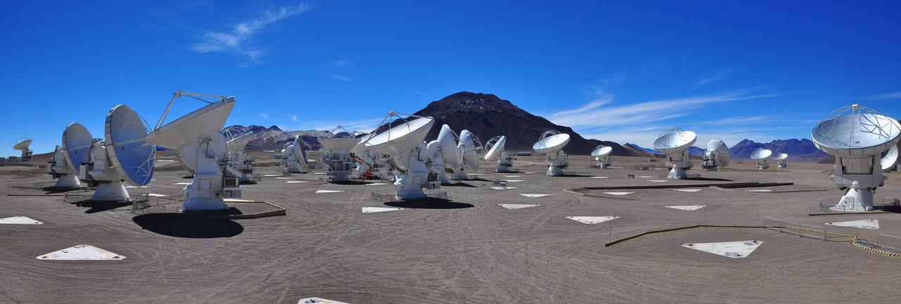 Panoramic View Of Radio Telescopes Against Sky