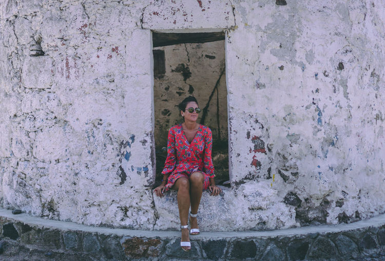 Pretty woman model in abandoned old mill, posing. Real People One Person Leisure Activity Lifestyles Women Young Adult Day Young Women Posing For The Camera Model Red Dress Summer Old Millennial Pink Ruins Woman Portrait Sunglasses She Suglasses Bodrum, Turkey One Woman Only