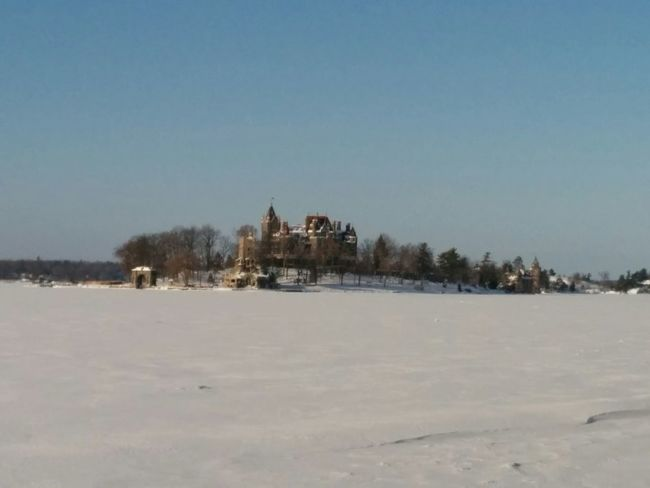 Boldt Castle Winter with the frozen St. Lawerence in between