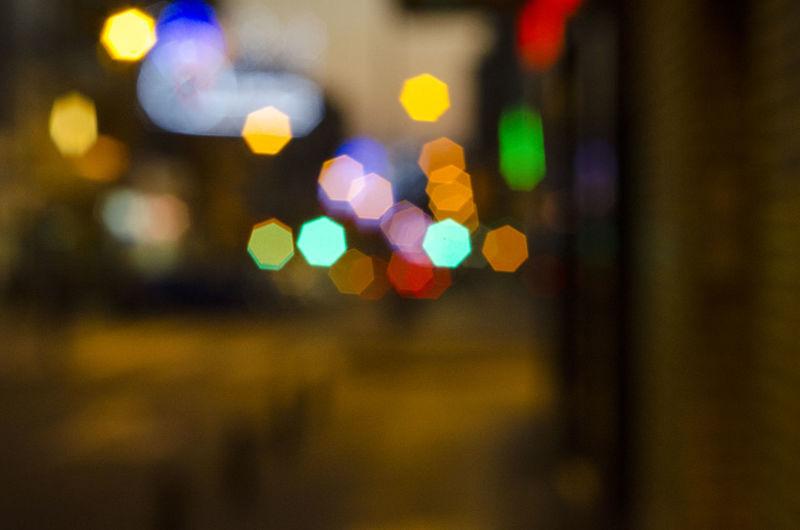 Close-up of illuminated lights at window