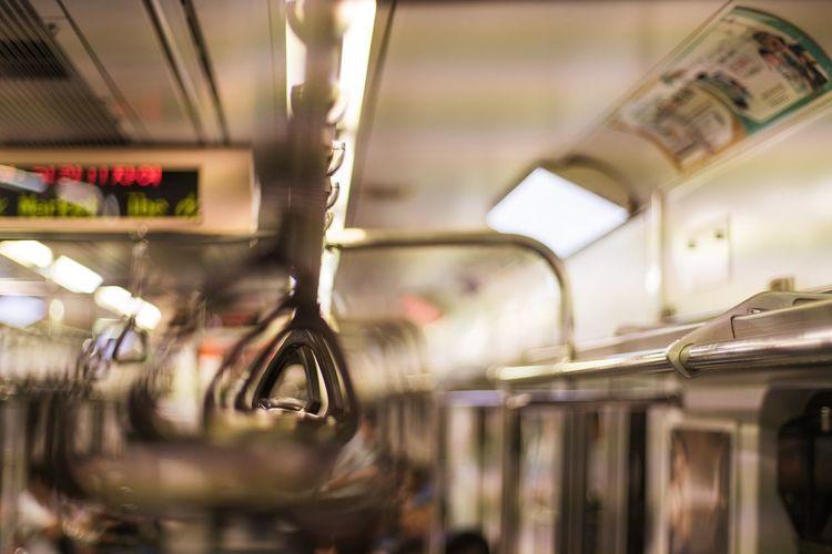 Handles in subway train