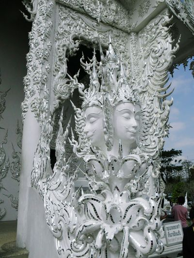 Brahma (Four faces). Wat Rong Khun. Chiang Rai. TH. Focus On Foreground Sculpture Full Frame Thailand Temple Landscape Tradition Beauty Religion Spirituality Outdoors Buddhism Culture Buddhist Temple Luxury Illuminated Arts Culture And Entertainment Place Of Worship Travel Destinations Travelling Thailand BUDDHISM IS LOVE Ornate Low Angle View Architecture Scenics No People Statue
