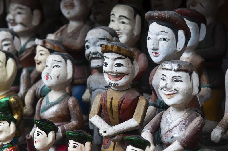 Full frame shot of statues for sale