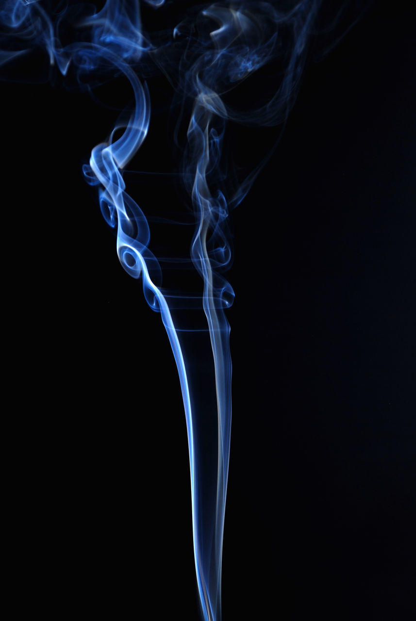 smoke - physical structure, black background, burning, swirl, studio shot, abstract, no people, motion, changing form, pattern, close-up, blue