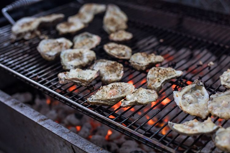Barbecue Barbecue Grill Burning Close-up Coal Dinner Fire Flame Focus On Foreground Food Food And Drink Freshness Grilled Heat - Temperature Meat Metal No People Outdoors Oyster  Oyster Time Oysters Preparation  Preparing Food Selective Focus Temptation