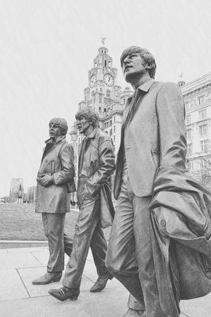 The Beatles John Lennon Paul Mccartney George Harrison Liver Building Liver Bird Taking Photos Liverpool Liverpool, England B&w Photography B&w Photo Photographing Arts Culture And Entertainment
