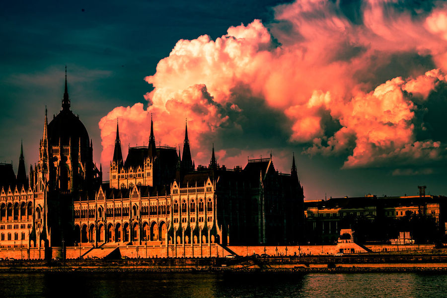 Budapest Architecture Building Building Exterior Built Structure City Cloud - Sky Nature No People Outdoors Parliament Of Budapest River Sky Spire  Sunset Tourism Transportation Travel Travel Destinations Water Waterfront