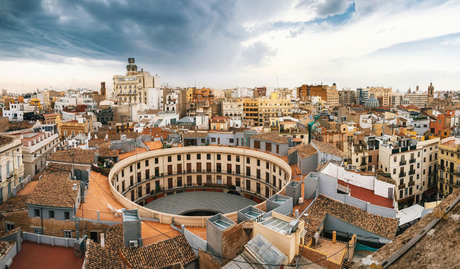 Aerial panoramic view of the old town in Valencia from Santa Caterina tower, Spain Arena SPAIN Valencia, Spain València Aerial Photography Architecture Building Exterior Built Structure City Cityscape Cloud - Sky Day Downtown District Sky View From Above