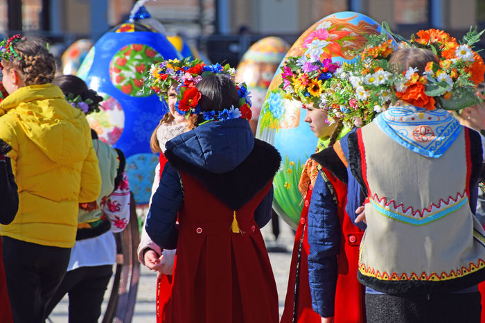 Kids in traditional clothes celebrating Ester. Exibition of big painted Easter eggs in Ukraine, Kiev 2017 Celebration Day Easter Easter Eggs Easter Ready Easter Sunday Exibition Multi Colored Outdoors Painted Easter Egg People Real People Traditional Traditional Clothing Traditional Costume Traditional Culture Traditional Festival Ukraine