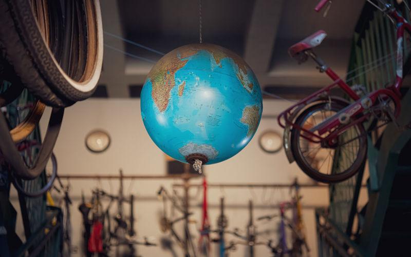 Close-up of globe hanging