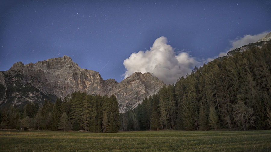 Night view from San Vito di Cadore. Atmosphere Belluno Cloud Dolomites Alps Forest Landscape Mountain Nature Night No People North Italy Outdoors Scenics Sky Stars Tree