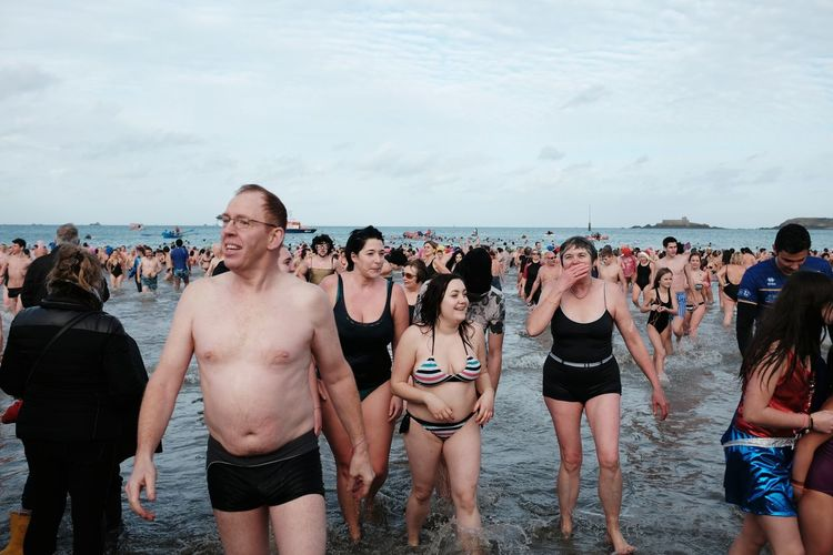 EyeEm Selects Beach Large Group Of People Sea Women Fun People Water Adult Vacations Outdoors Sky Men Crowd Adults Only Day Nature Young Adult Winter Swim Dinard Bretagne France